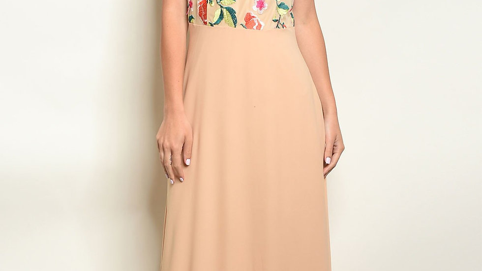 Beige Floral Embroidery Maxi Dress