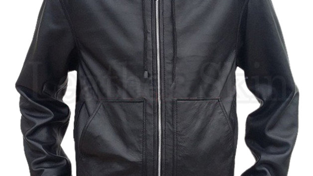 Men Black Hooded Leather Jacket