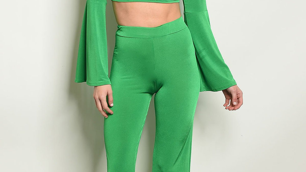 Womens Green Top & Pants Set