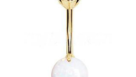14Kt. Yellow Gold Navel Ring With Prong Set White Synthetic Opal