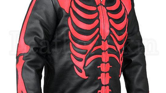 Men Black Skeleton Biker Leather Jacket