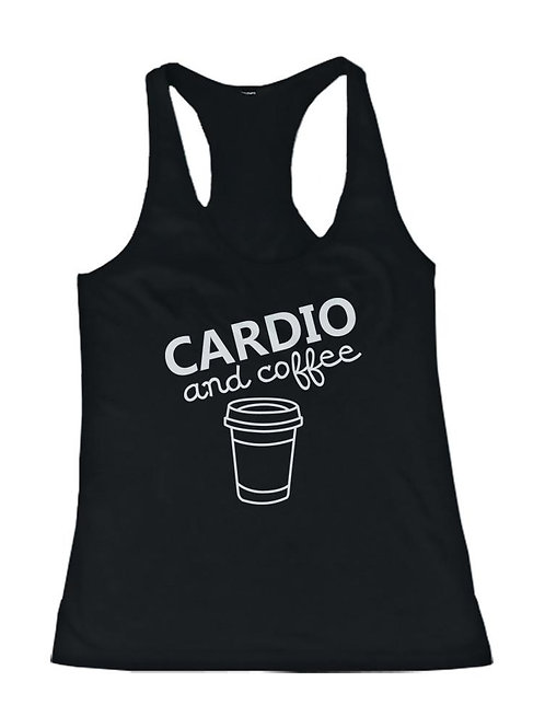 Cardio and Coffee Women's Workout Tank Top Gym Tank Sleeveless Top for Lady