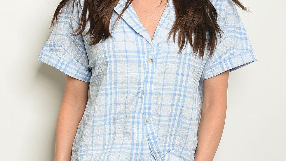 Blue Checkers V-neck Top