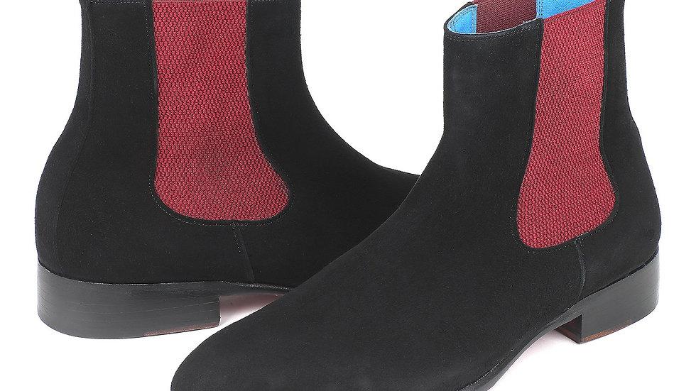 Paul Parkman Black Suede Chelsea Boots (ID#SD841BLK)