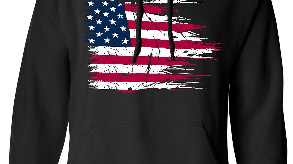 Men's/Unisex Pullover Hoodie Battle Ripped USA Flag  Pride
