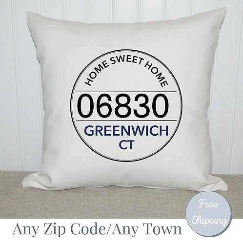 Town Zip Code Pillow | Personalized Location and town name