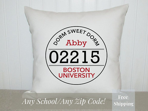 College Zip Code Pillow | Personalized Location and name | College Zip Code