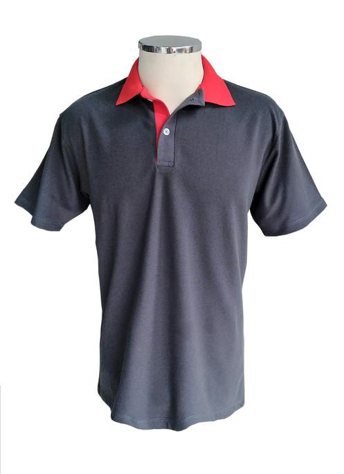 1c6187a21 Camisa Polo Cinza com gola vermelha