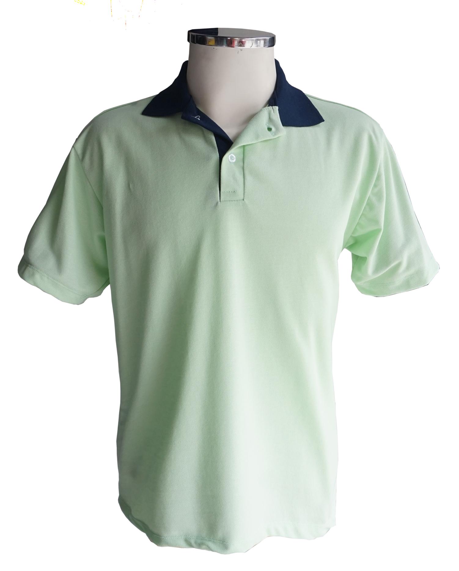 Verde claro com gola marinho