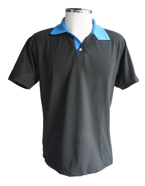 Camisa Polo Preto com gola azul