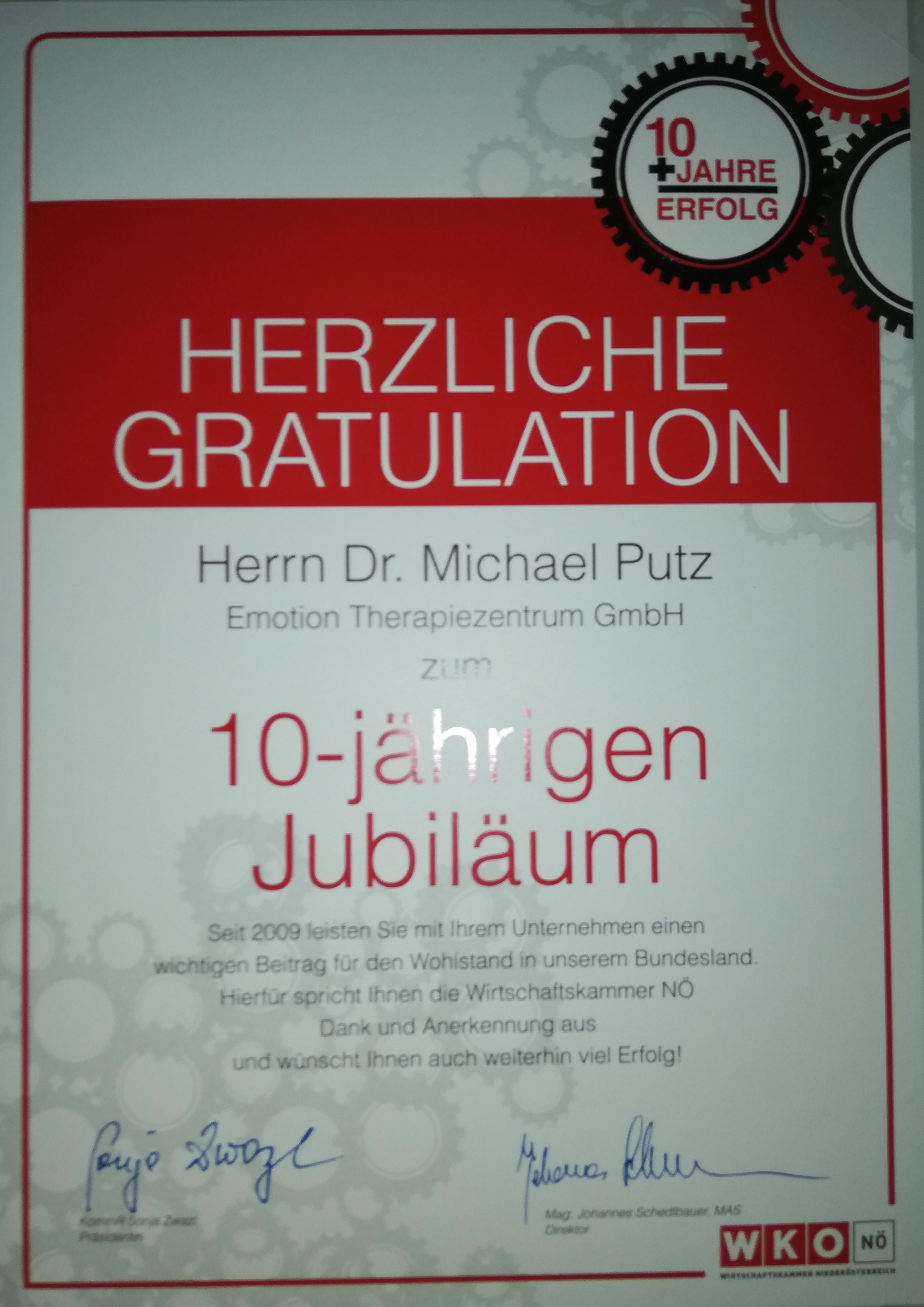 WKO_Auszeichnung_10-jährigen_Jubiläum