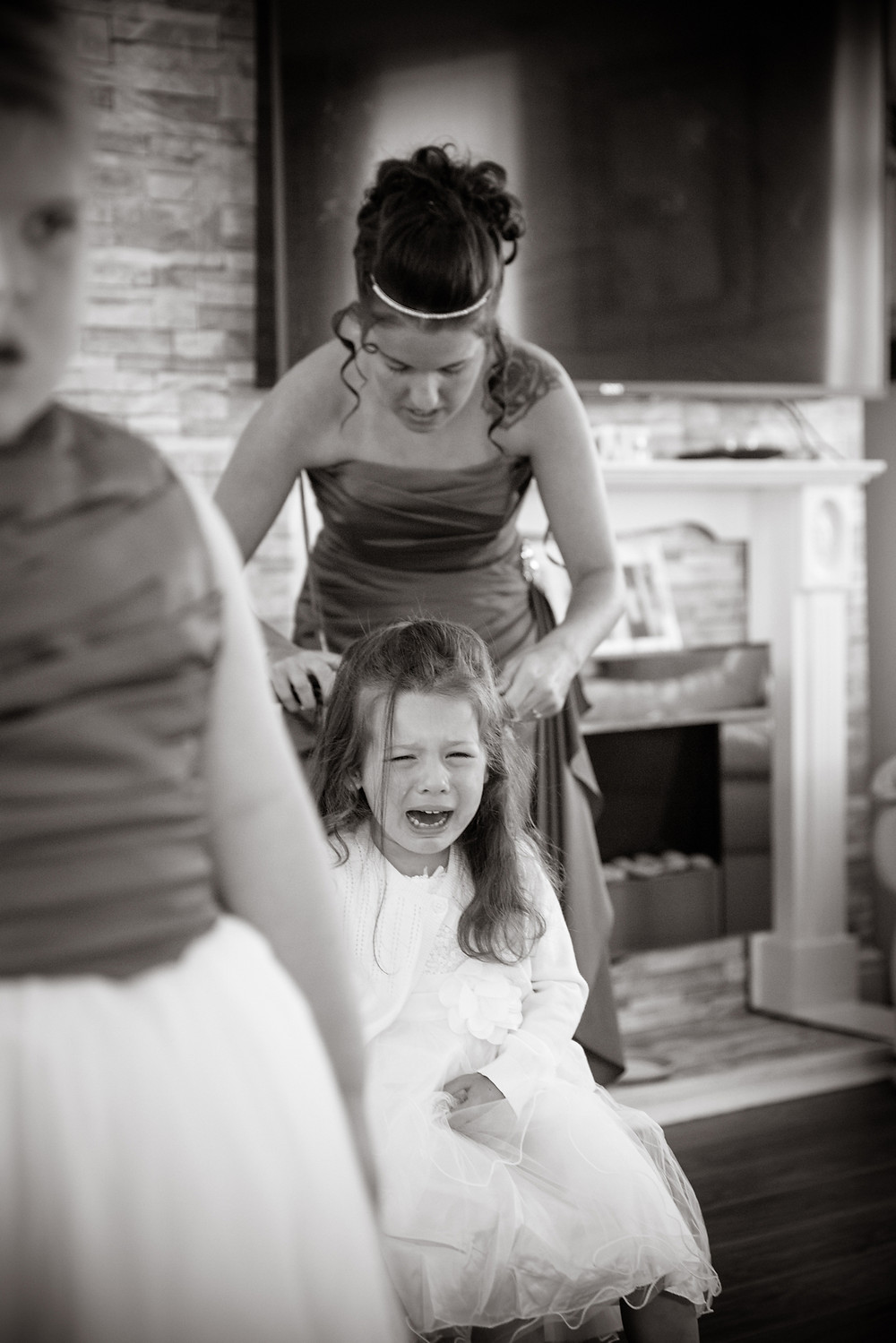 Having her hair done for the wedding day