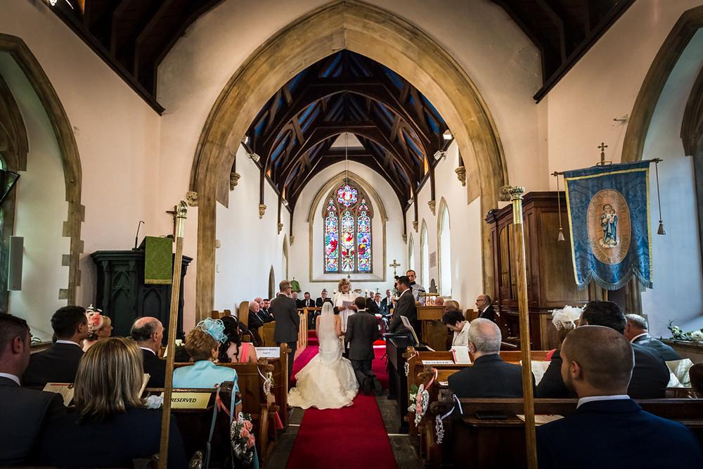 Wedding ceremony at Llanharan church Rhondda Cynon Taf