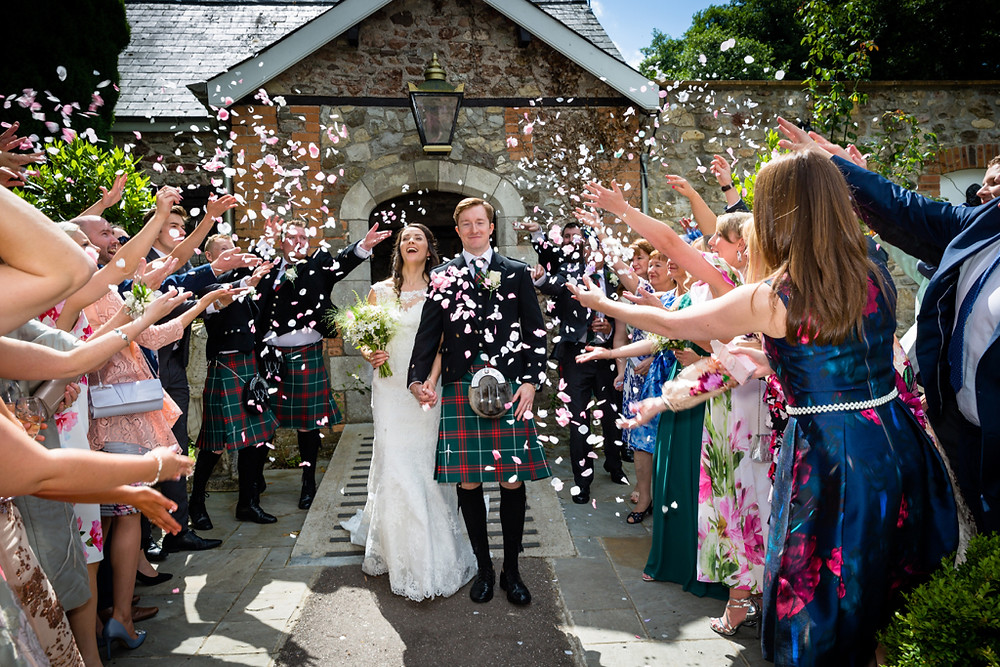 Wedding days confetti photograph at Pencoed House Estate Cardiff