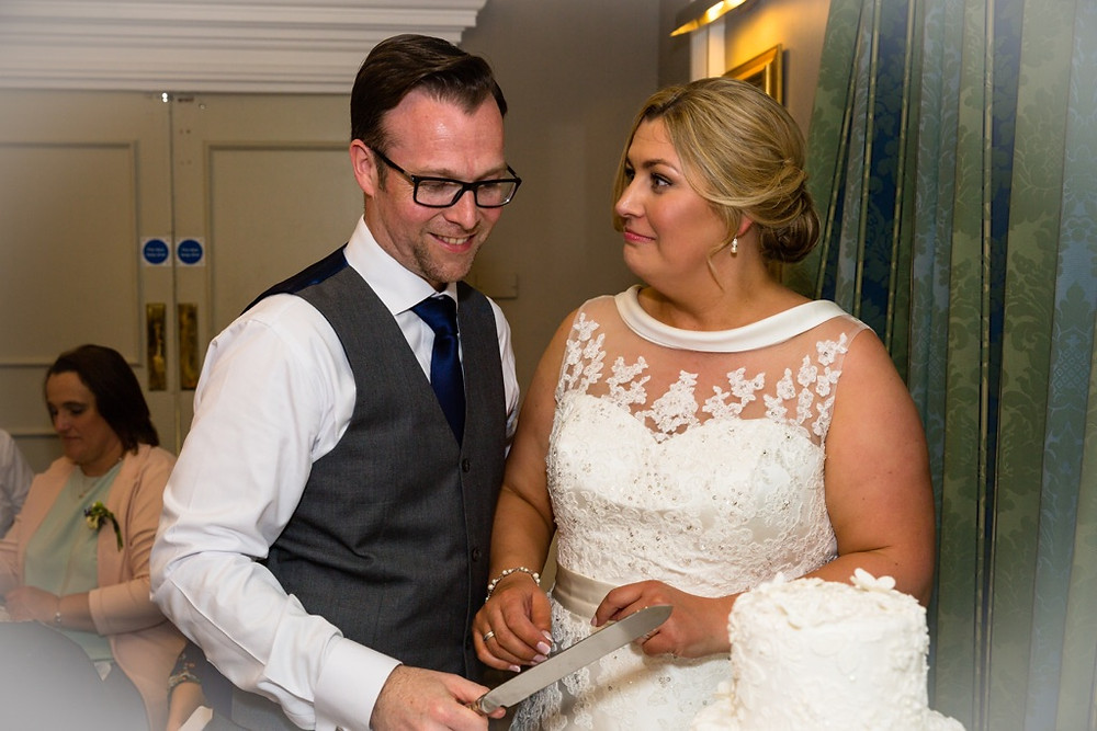 Wedding Cake cutting time at the Angel Hotel Cardiff