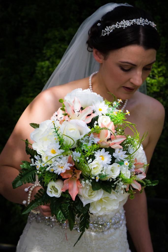 Bride arriving at Llanharan church Rhondda Cynon Taf