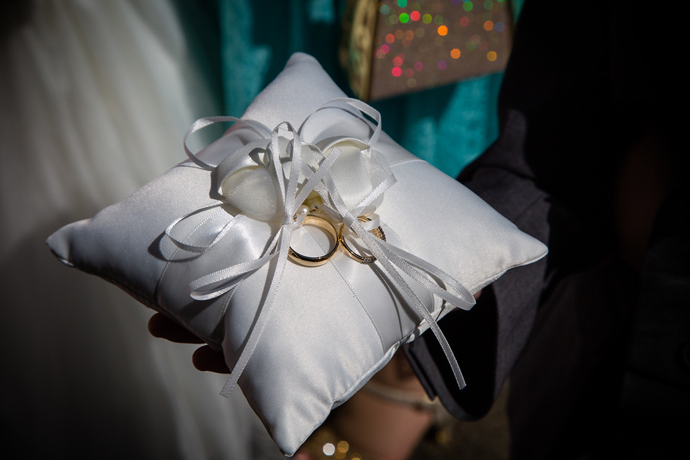 Wedding rings ready at Llanharan church Cynon Taff