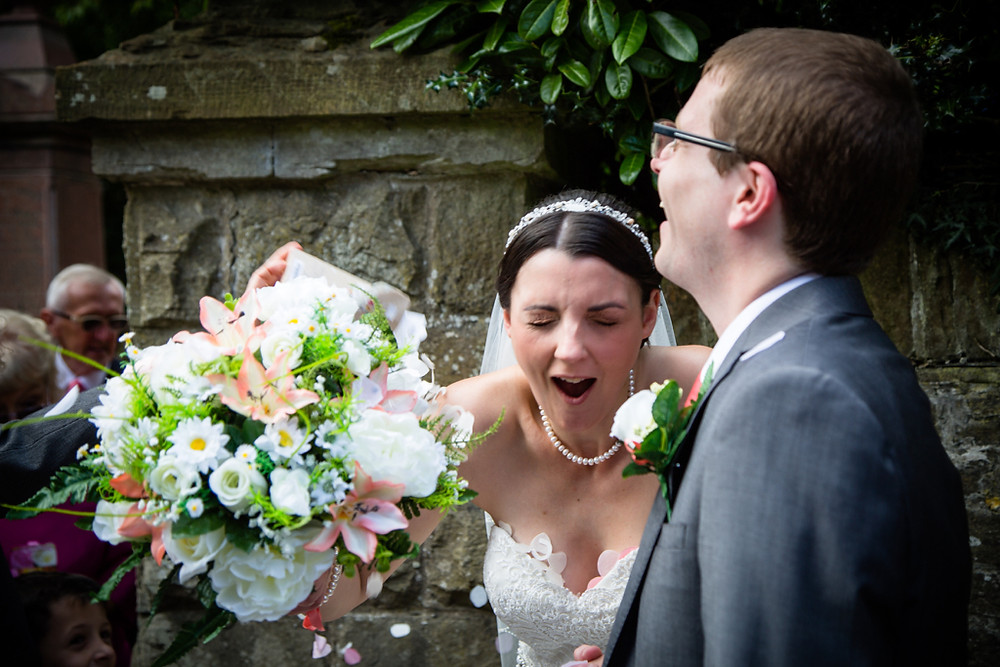 Wedding moments at Llanharan church Rhondda Cynon Taf