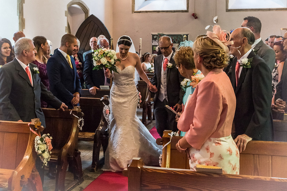 Bride and Father at Llanharan church Rhondda Cynon Taf