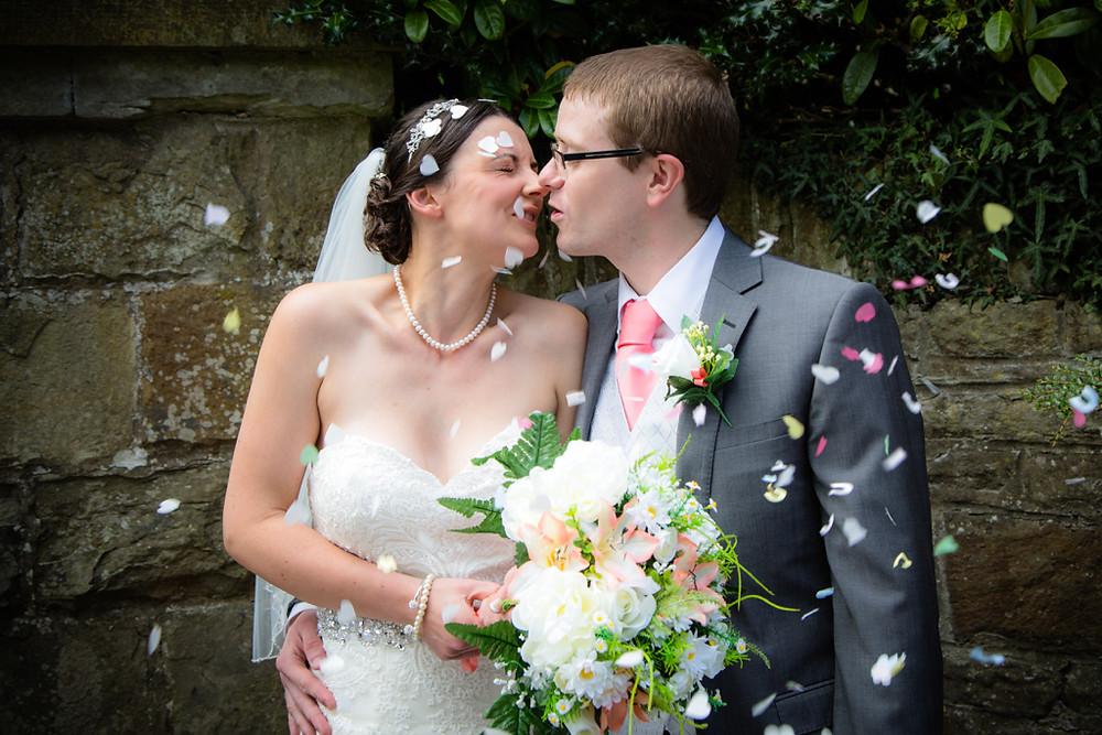 Wedding kiss at Llanharan church Rhondda Cynon Taf