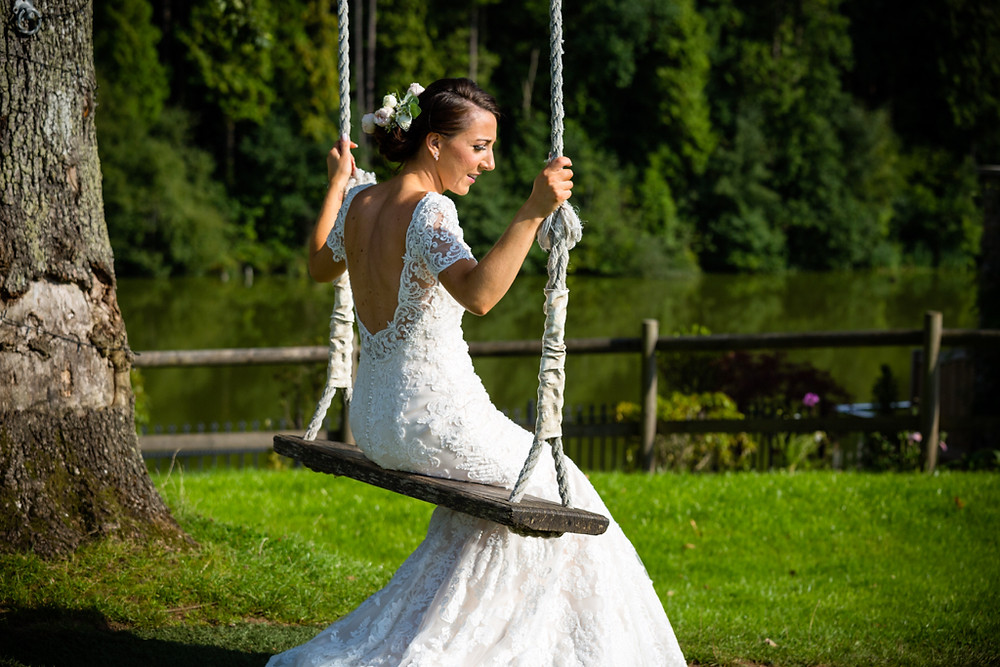 Bride moment during a busy wedding day in Canada Lodge and Lake Cardiff