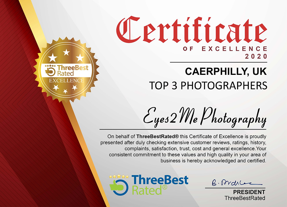 Certificate of Excellence for Eyes2Me Photography