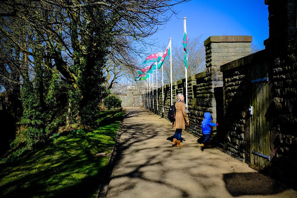 Walking Cardiff castle walls