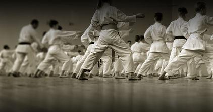 Children's training on karate-do. Banner