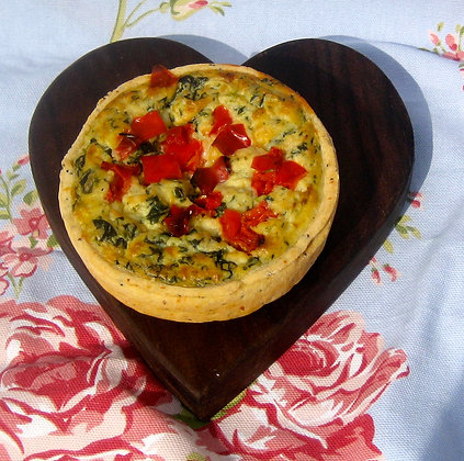 Spinach Goats cheese and pine nut tart