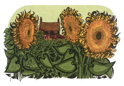 Cottage & sunflowers Gift card