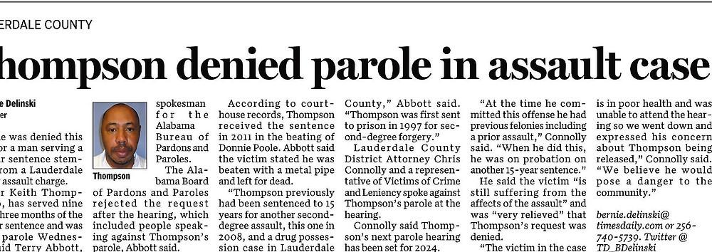 Thompson Parole Denied