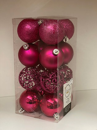 16 Pink Baubles