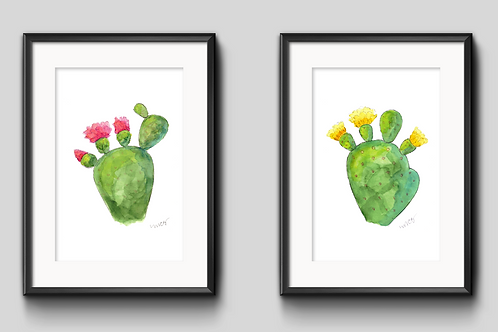 Prickly Pair Duo Watercolor Painting - Unframed Prints