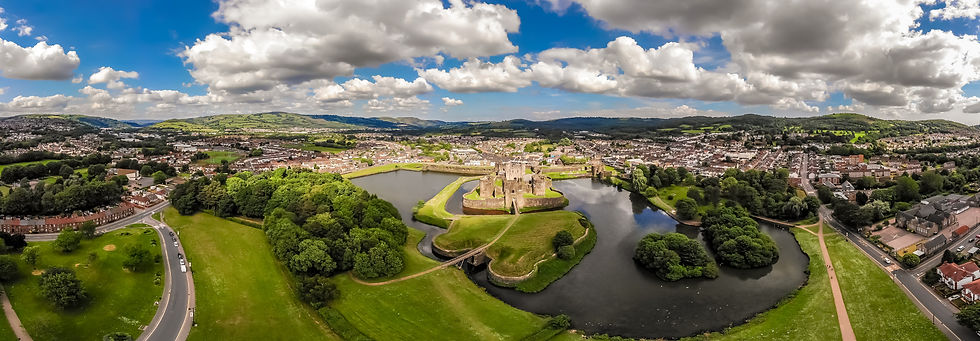 Aerial view of Caerphilly castle in summ