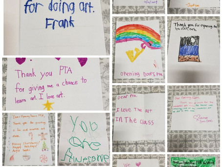 Sweet messages from students in our art class!