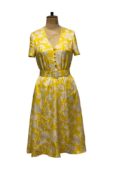 Yellow and White Silk Dress