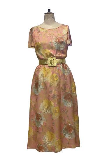 Pink and Gold Midi Dress