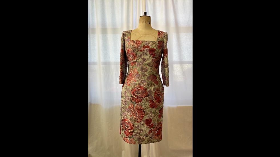 Multi Floral Jaquard Dress