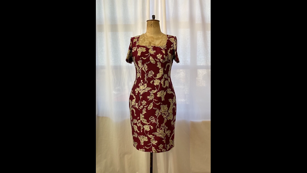 Red and silver brocade dress