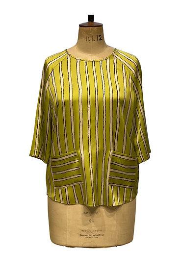 Lime Stripe Silk Top