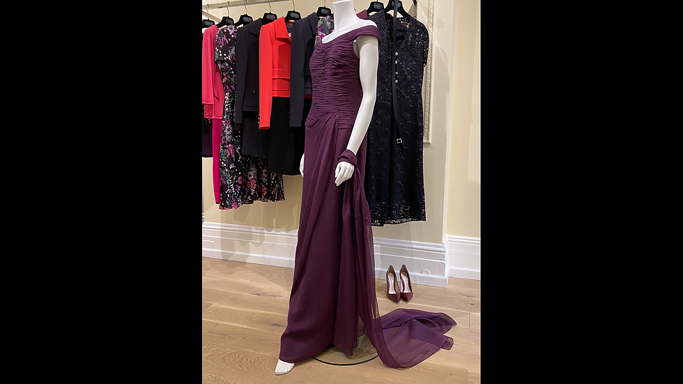 Purple Georgette Evening Gown