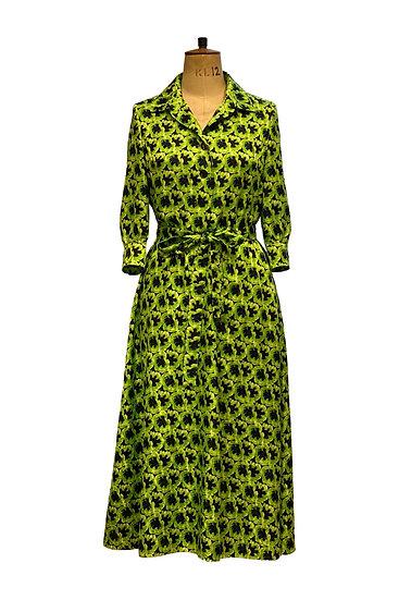 Lime and Black Shirt Dress