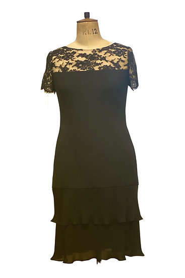 Black Lace and Silk Dress