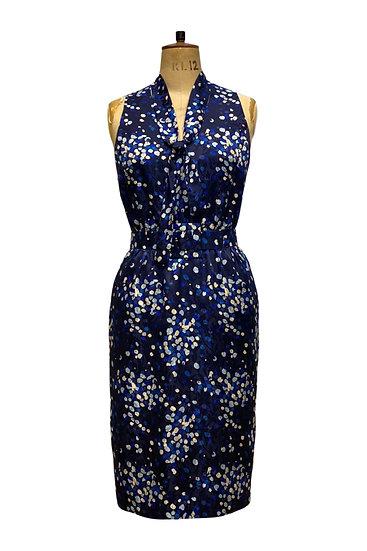 Blue Print Silk Dress