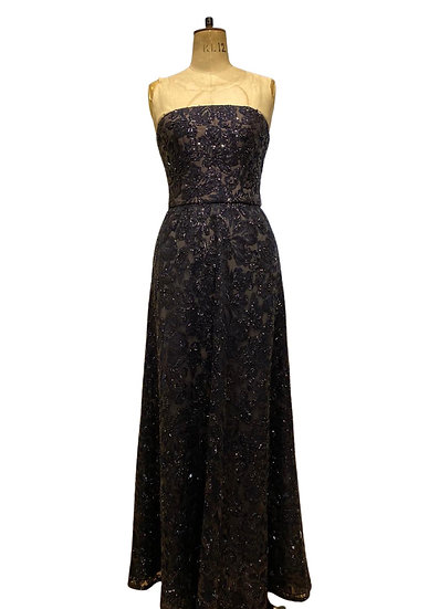 Navy Beaded Evening Gown