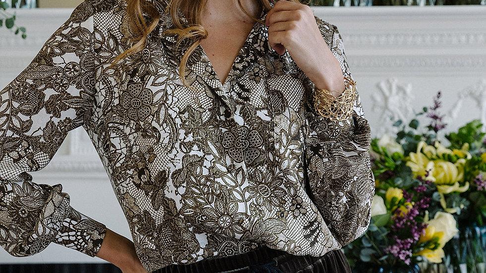Silk Lace Print Blouse