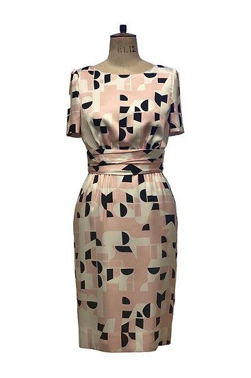 Pink Print Silk Dress