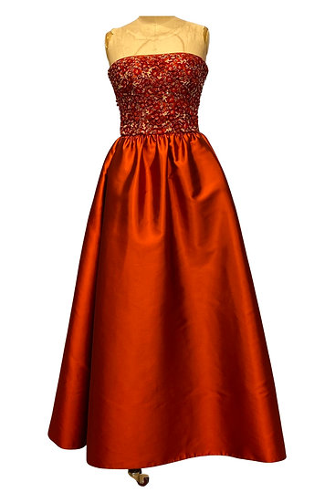 Red Beaded Evening Gown