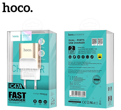 FONTE FAST CHARGER 2.1 2USB C47A HOCO GOLD