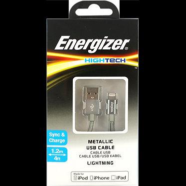 CABO USB/USB-C 1,2M HIGHTECH ENERGIZER LIGHTINING CINZA METALICO